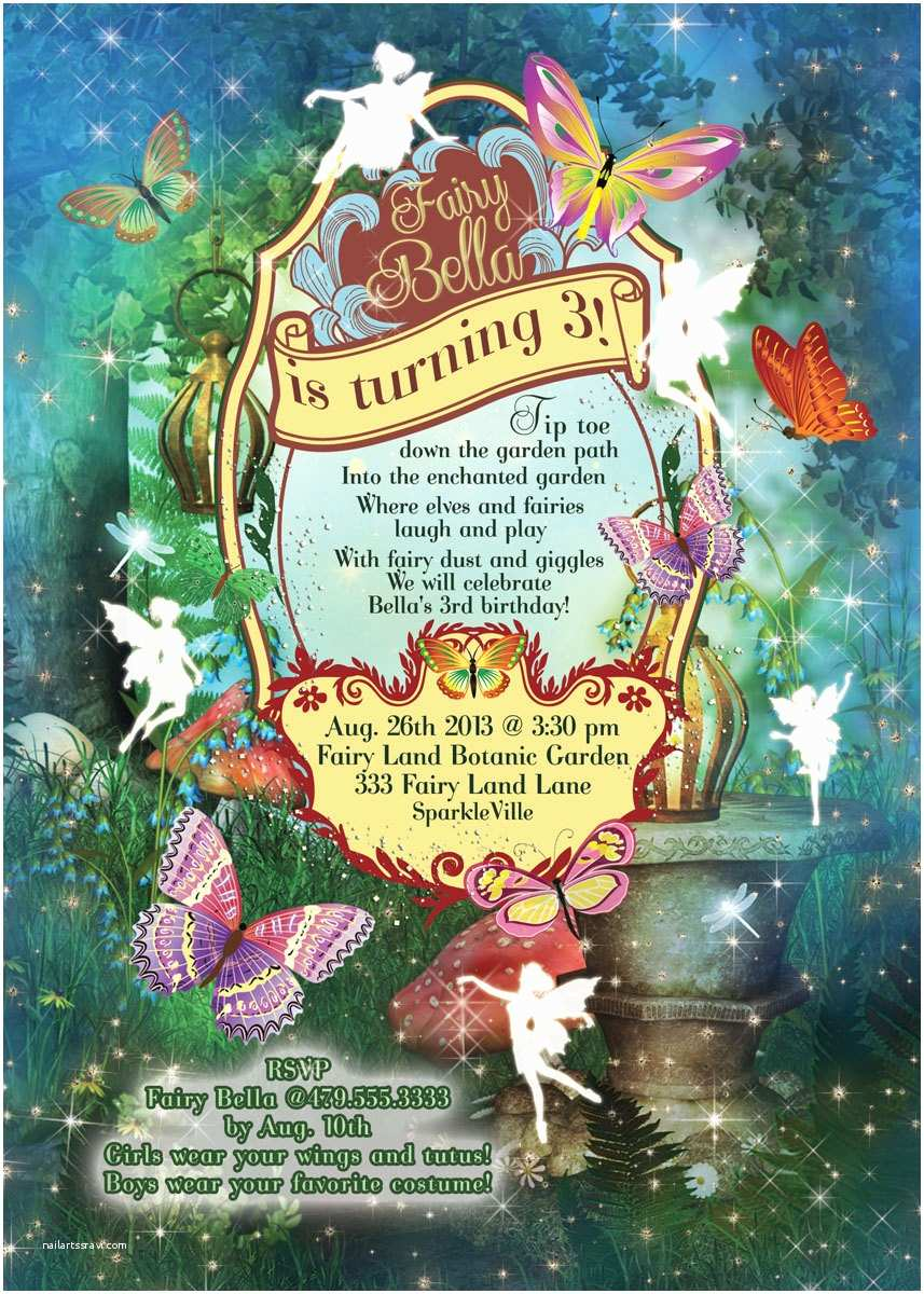 Fairy Birthday Invitations Fairy Fairies Fairy Garden Party Invitation Fairy
