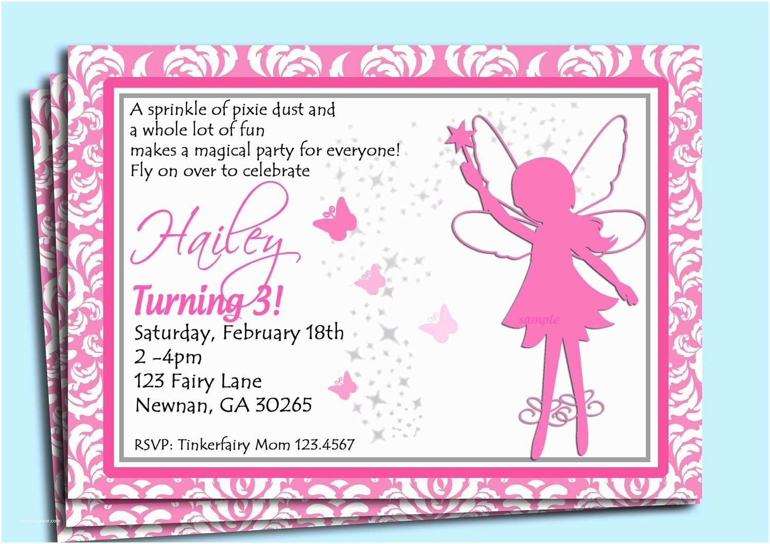 Fairy Birthday Invitations Invitation Printable Or Printed With Free Shipping
