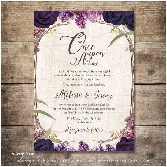 Fairytale Wedding Invitations Enchanted forest Wedding Invitation Purple Wedding Fairy