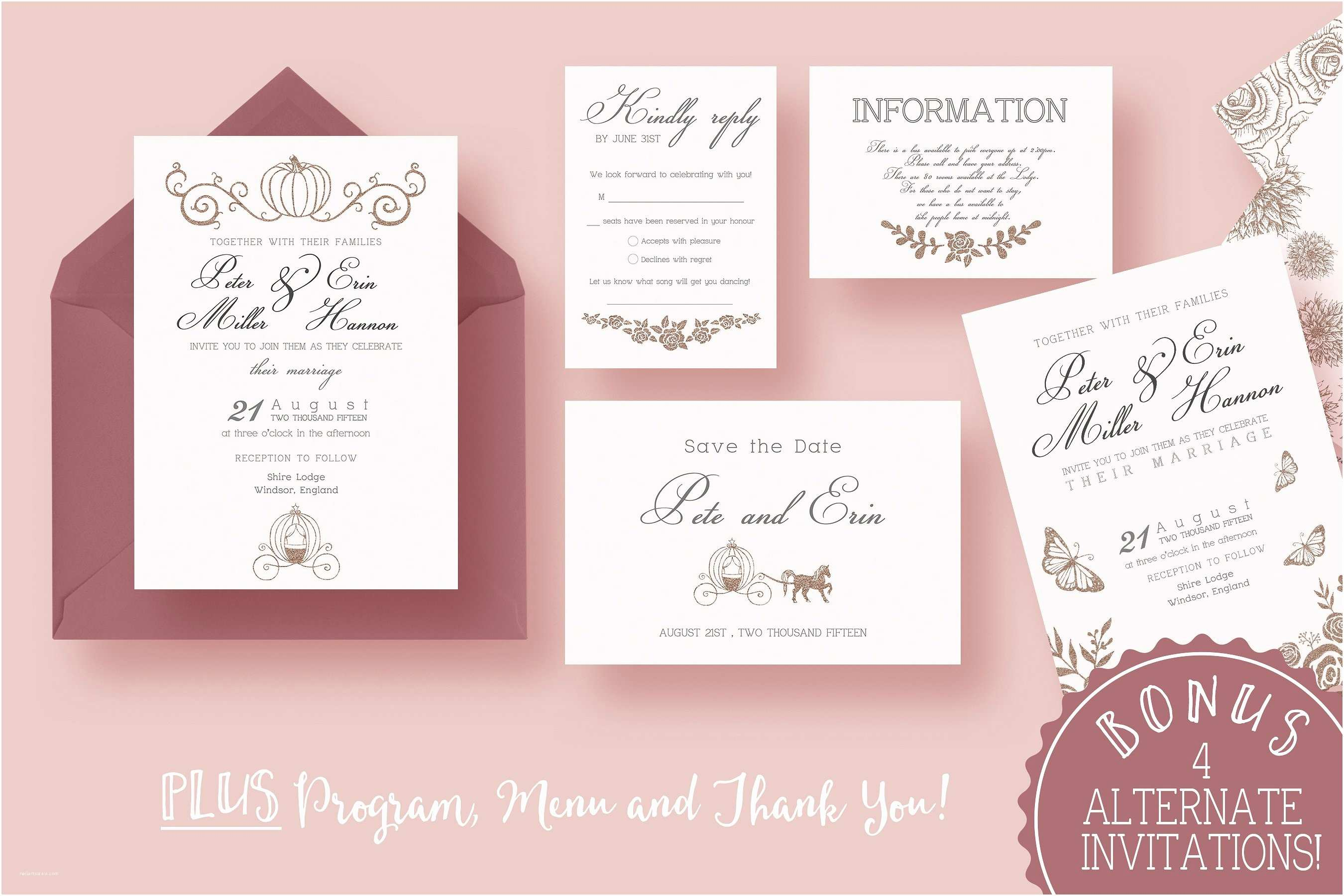 Fairytale Wedding Invitations Fairy Tale Wedding Suite Invitation Templates
