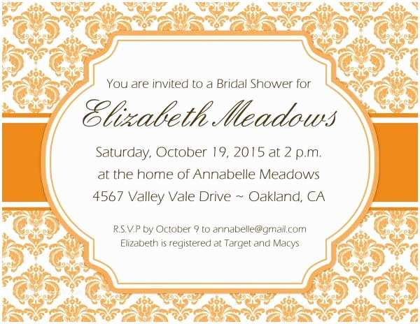 Fall Birthday Invitations Autumn Party Invitations Fall Damask Invitations Bridal