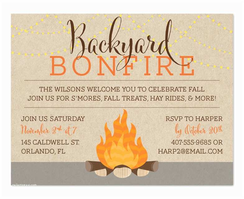 Fall Birthday Invitations Backyard Bonfire Party Invitations by Invitation