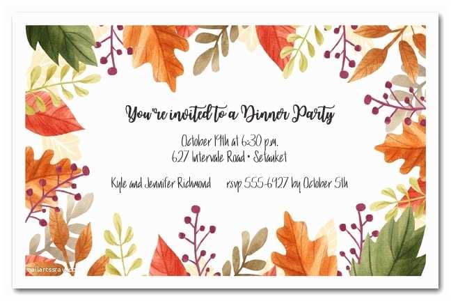 Fall Birthday Invitations Beautiful Autumn Leaves Fall Party Invitations