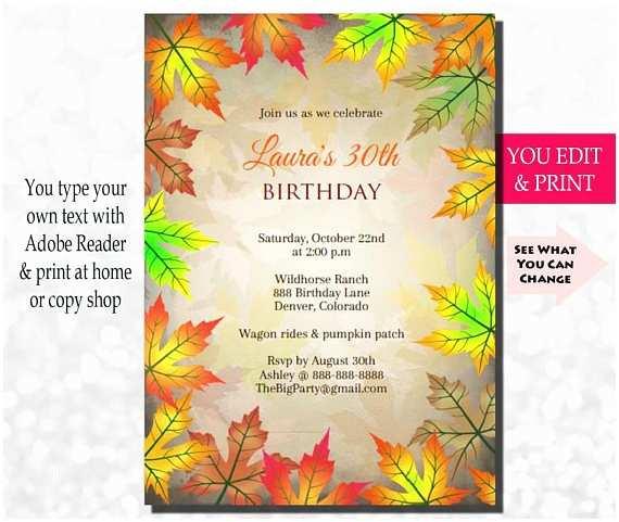 Fall Birthday Invitations Fall Birthday Invitation Rustic Birthday Invitation Fall