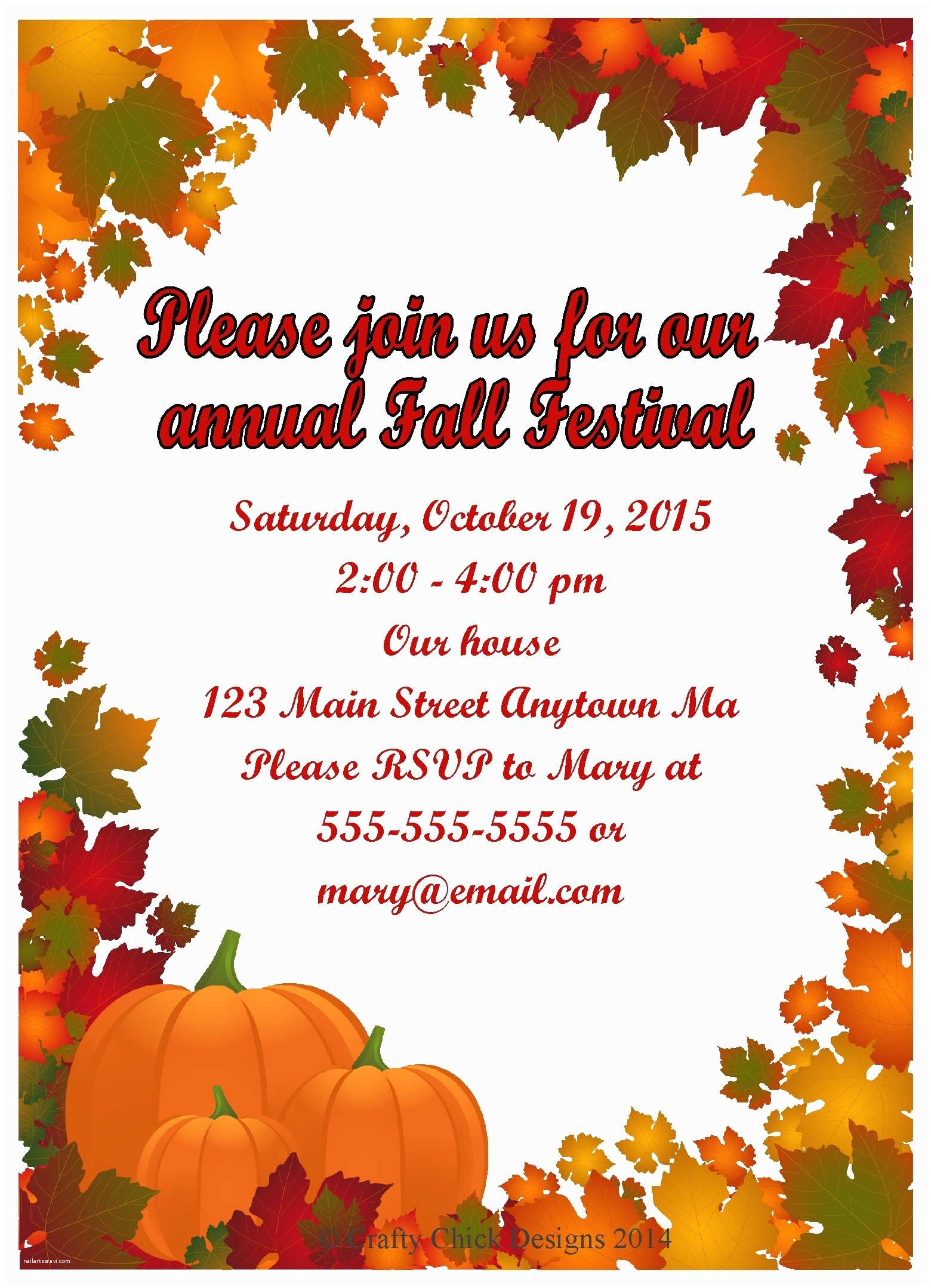 Fall Birthday Invitations Fall Festival Party Invitations – Style 4