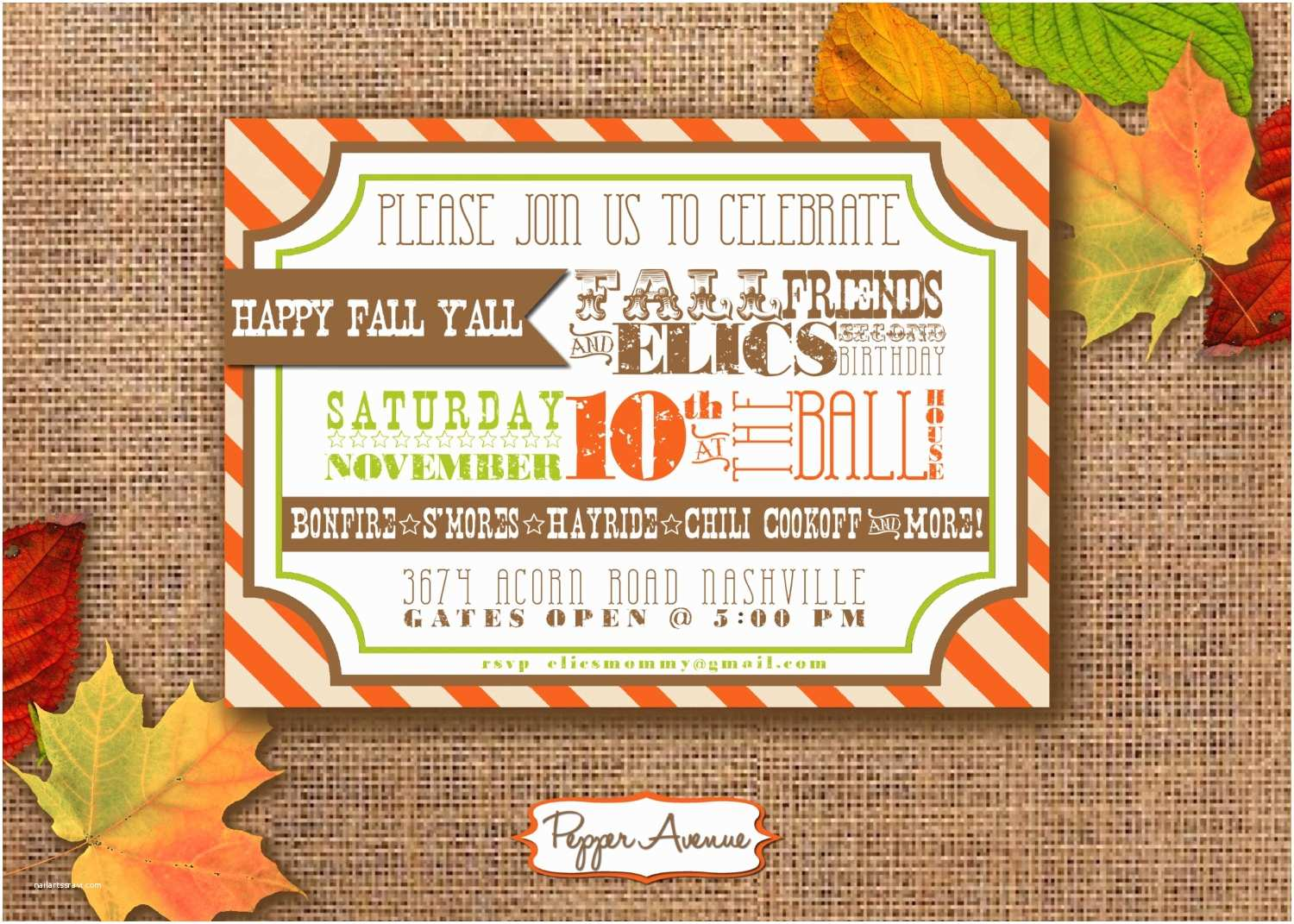 Fall Birthday Invitations Fall Festival Party Personalized Printable Pdf Invitation