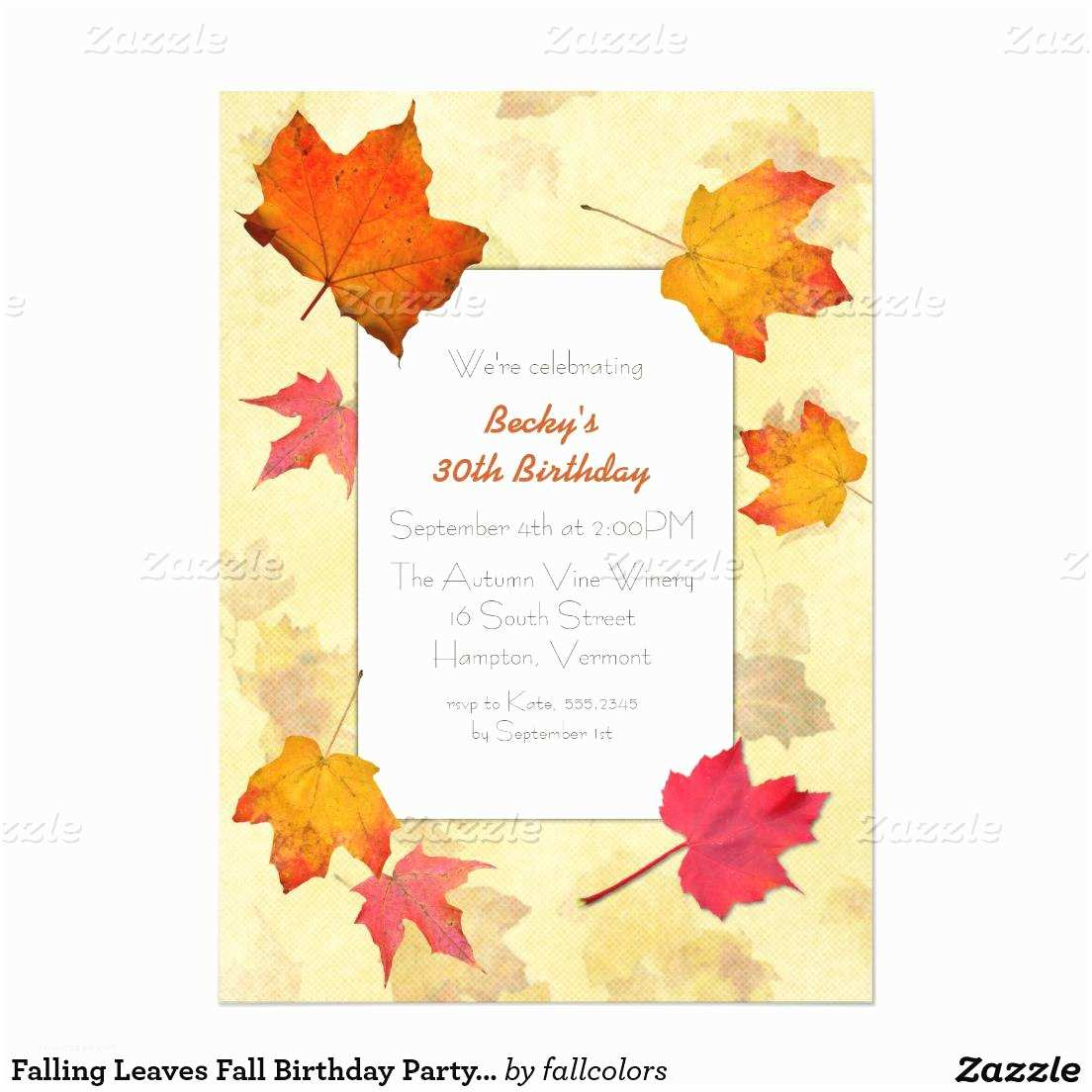 Fall Birthday Invitations Fall Party Invitations