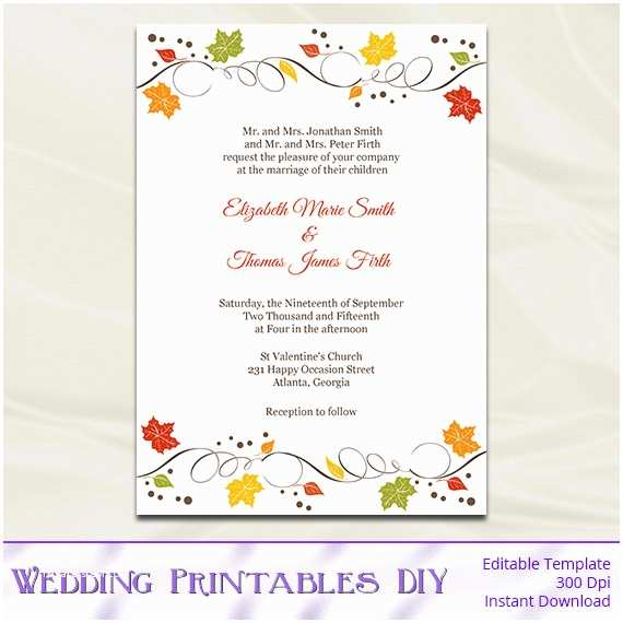 Fall Birthday Invitations Fall Wedding Invitations Template Diy Autumn Leaves Rustic