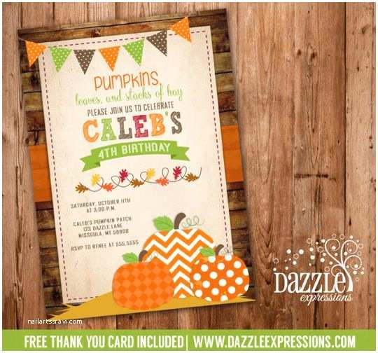 Fall Birthday Invitations Invitations Kids Thank You Cards and Pumpkin Patch