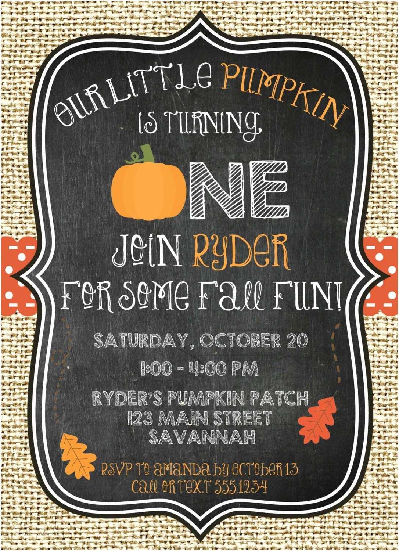 Fall Birthday Invitations Pumpkin Birthday Invitation Pumpkin First Birthday