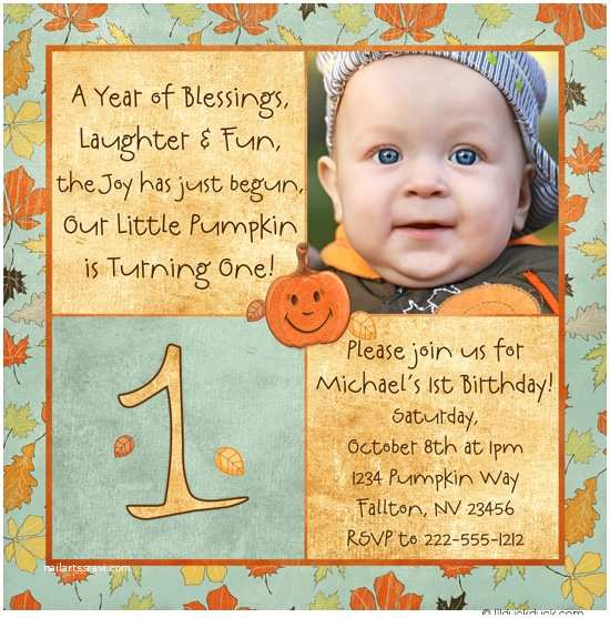 Fall Birthday Invitations Pumpkin Joy Square Birthday Invitation Bright Fall Leaves