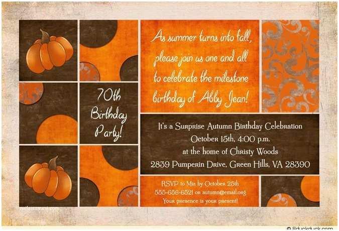 Fall Birthday Invitations Rustic Fall Adult Birthday Invitations Shabby Chic Autumn