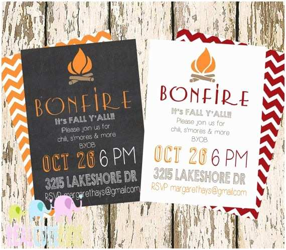 Fall Birthday Invitations Simple Fall Party Invite Chalkboard Bonfire Party S