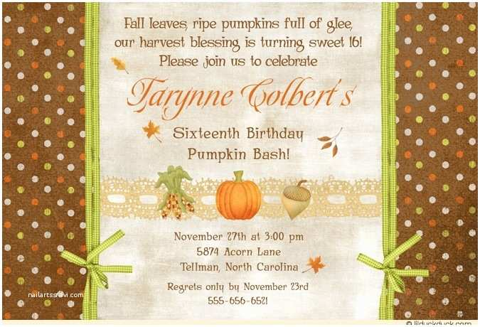 Fall Birthday Invitations Sunny Pumpkin Sweet 16 Invitations Fall Leaves S