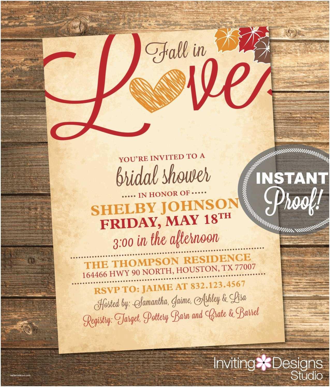 Fall Bridal Shower Invitations Fall In Love Bridal Shower Invitation Love by