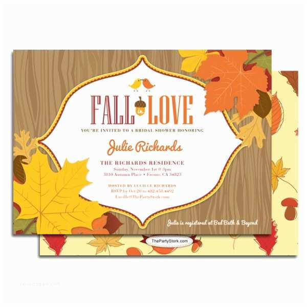 Fall Bridal Shower Invitations Fall In Love Bridal Shower Invitation