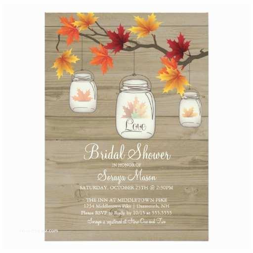 Fall Bridal Shower Invitations Fall Leaves Mason Jar Bridal Shower Wood Grain 5x7 Paper