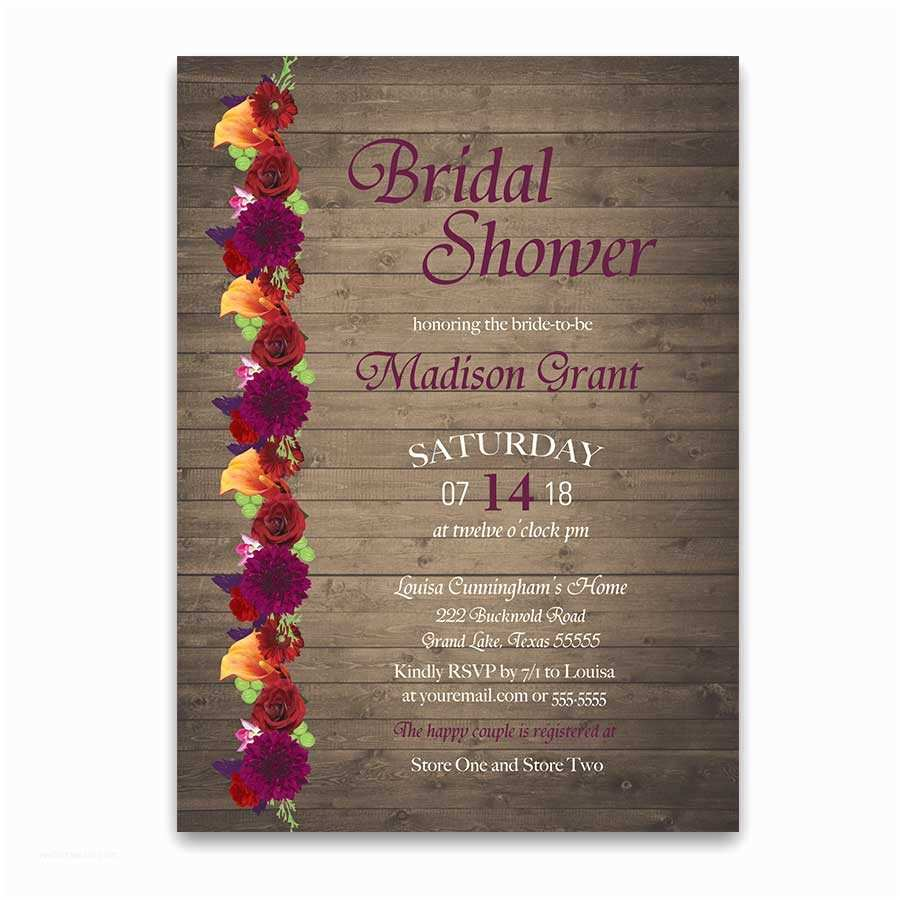 Fall Bridal Shower Invitations Rustic Fall Floral Plum Marsala Bridal Shower Invitations