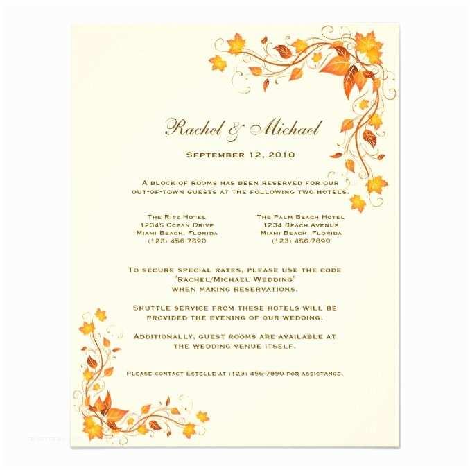 Fall Color Wedding Invitations Autumn Foliage Wedding Ac Odations Card Wedding