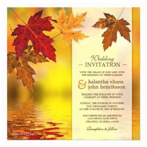 Fall Color Wedding Invitations Fall Autumn Wedding Invitation with Maple Leaves