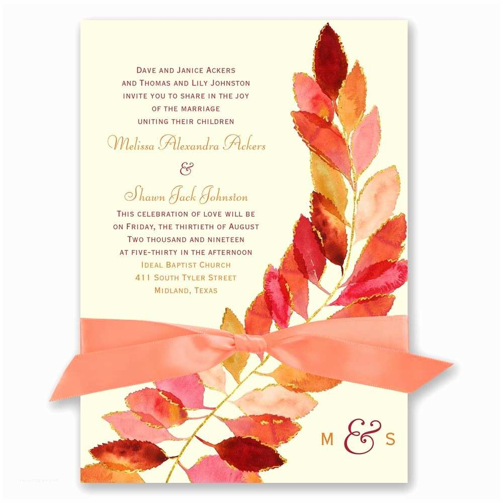 Fall Color Wedding Invitations Feathered Fall Invitation