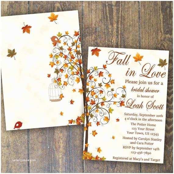 Fall In Love Wedding Invitations Fall Bridal Shower Invitation Fall In Love Invite Falling