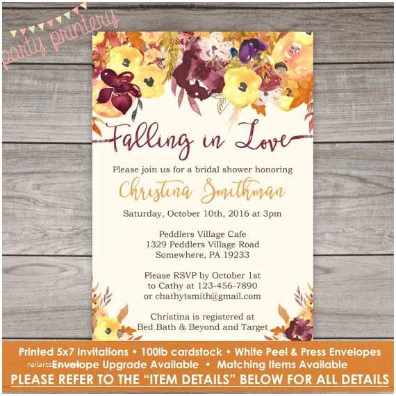 Fall In Love Wedding Invitations Fall Bridal Shower Invitations Fall Floral by