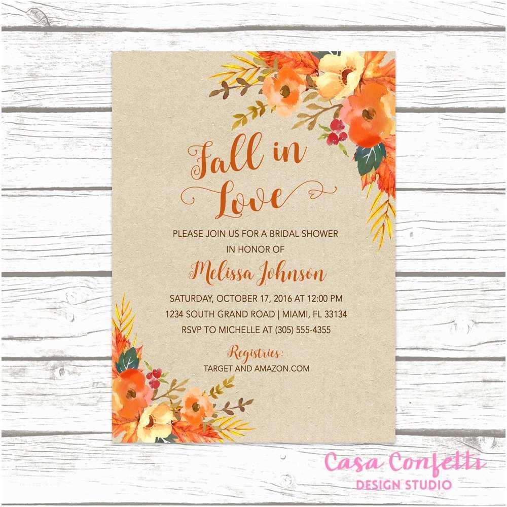Fall In Love Wedding Invitations Fall In Love Bridal Shower Invitation Fall Leaves Bridal