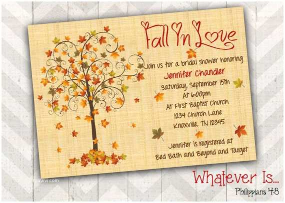 Fall In Love Wedding Invitations Fall In Love Bridal Shower Invitation