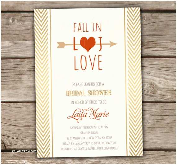 Fall In Love Wedding Invitations Fall In Love Bridal Shower Invitation Printed