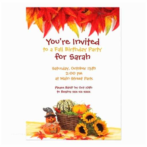 "Fall Party Invitations Autumn Leaves Fall Birthday Party Invitations 5"" X 7"