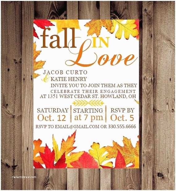 Fall Party Invitations Fall Engagement Party Invitations
