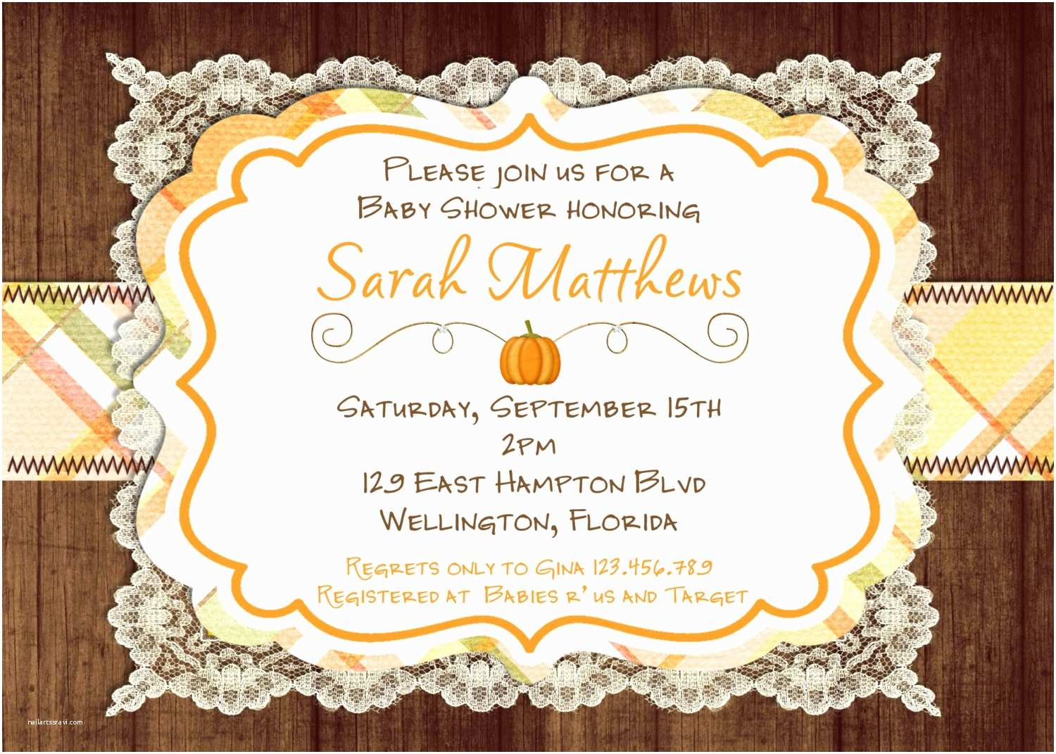 fall baby shower invitations girl