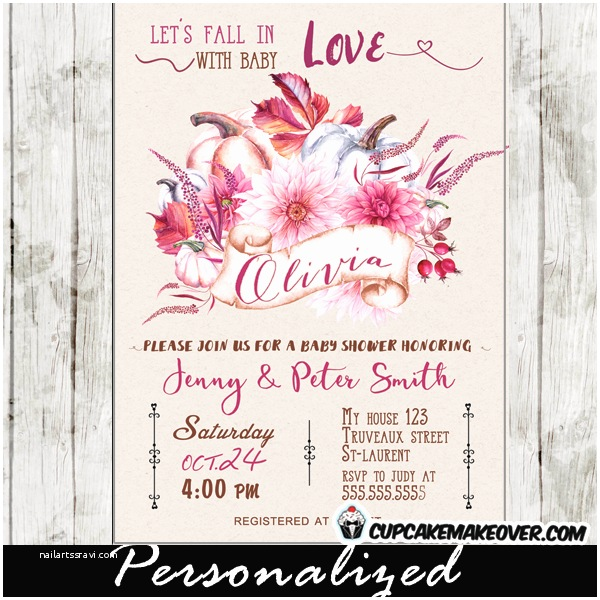 Fall themed Baby Shower Invitations Floral Burgundy Pink Fall themed Baby Shower Invitations