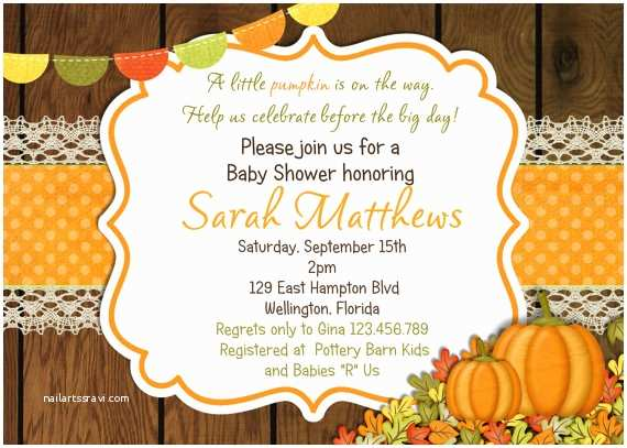 Fall themed Baby Shower Invitations Little Pumpkin Baby Shower Invitations