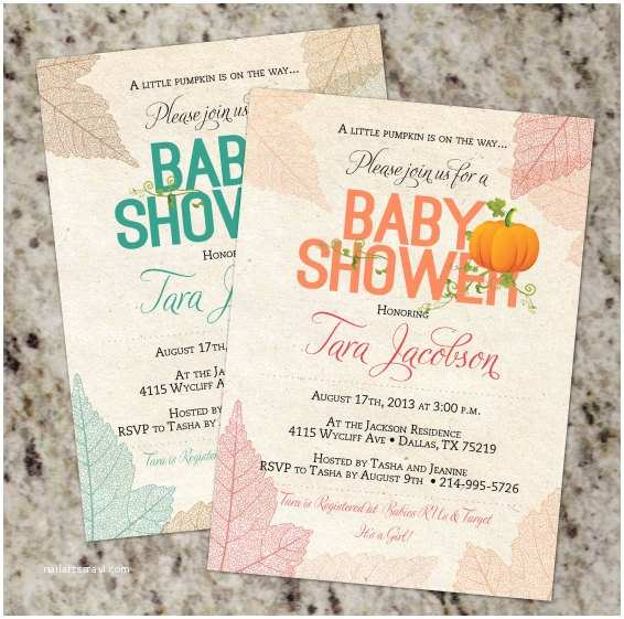 Fall themed Baby Shower Invitations Little Pumpkin Fall Autumn or Pumpkin themed Baby Shower