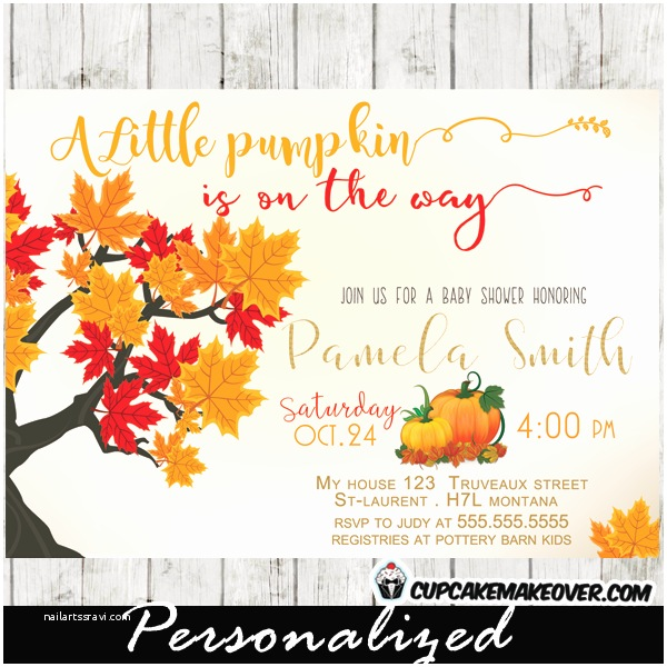 Fall themed Baby Shower Invitations Little Pumpkin Fall themed Baby Shower Invitation