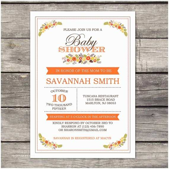 Fall themed Baby Shower Invitations You Print Fall Floral Baby Shower Invitation by Partyprintery