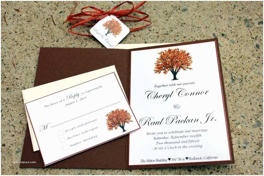 Fall themed Wedding Invitations Autumn Wedding Invitation Fall themed Invited Red by