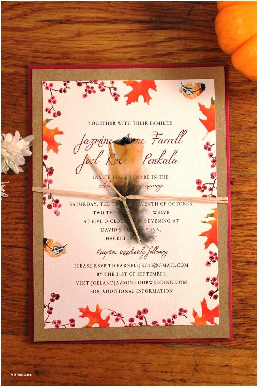 beautiful fall wedding invitations with orange burst
