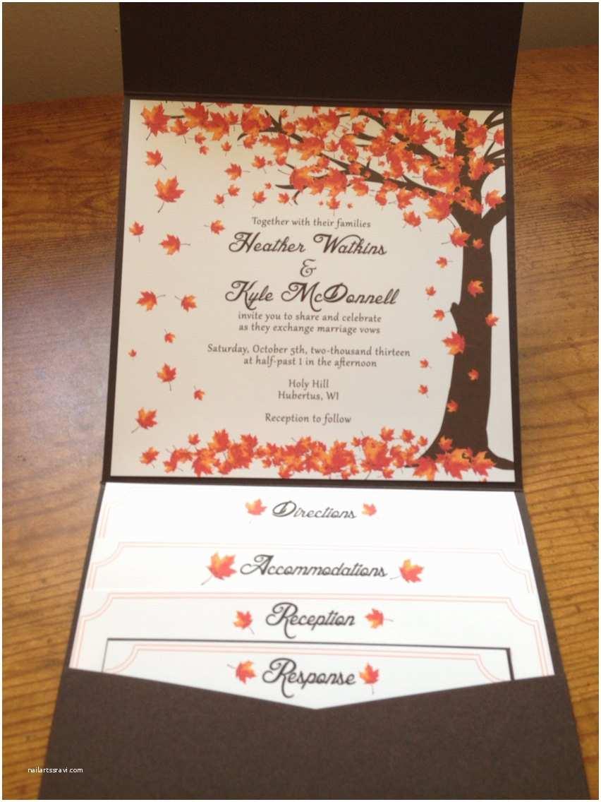 Fall themed Wedding Invitations Cheap Falling Leaves Wedding Invitation Autumn by Littlebopress