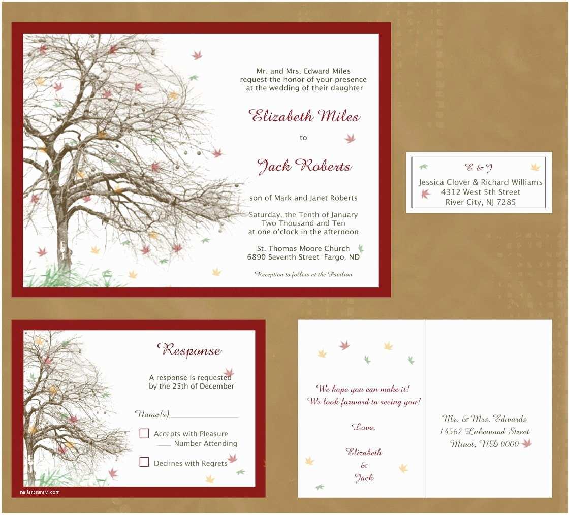 Fall themed Wedding Invitations Items Similar to Fall Tree themed Wedding Invitation