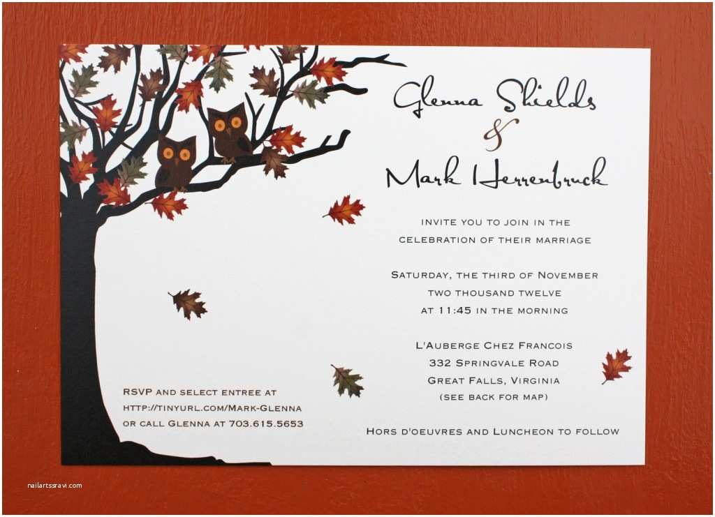 Fall themed Wedding Invitations Owls In A Fall Oak Tree Wedding Invitations Emdotzee Designs