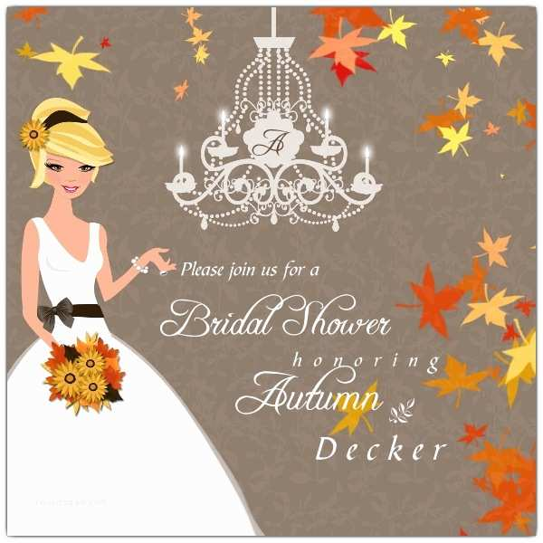 Fall themed Wedding Shower Invitations Autumn Romance Bridal Shower Invitations