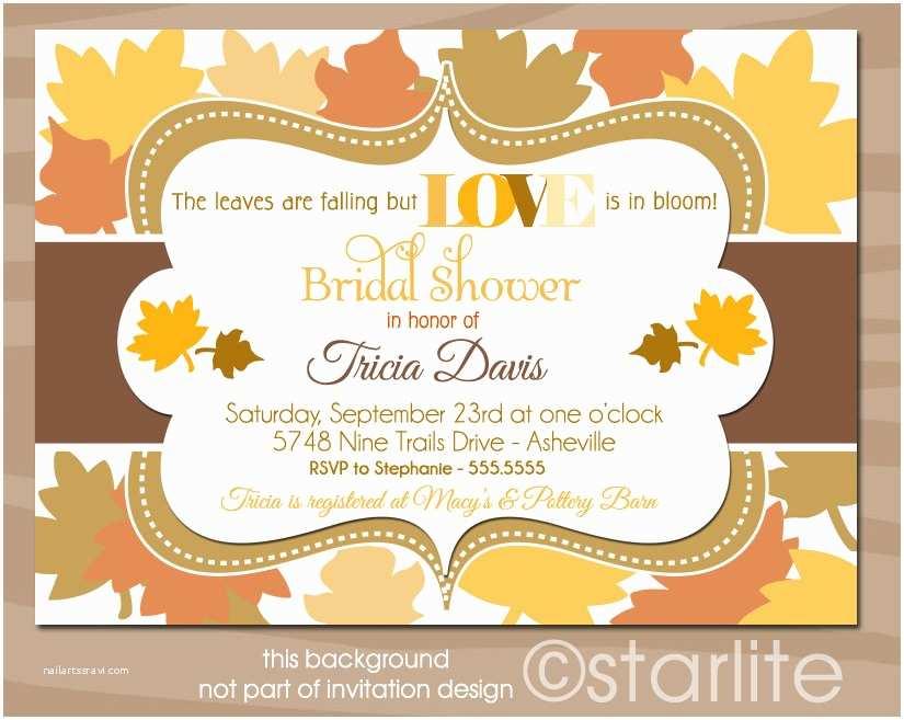 Fall themed Wedding Shower Invitations Autumn Vanilla Picture Autumn themed Bridal Shower