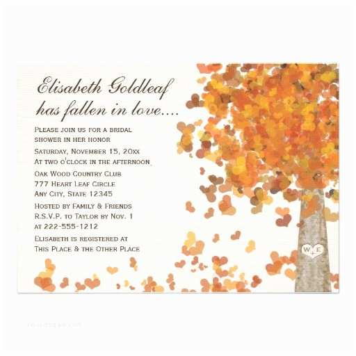 "Fall themed Wedding Shower Invitations Carved Initials Tree Fall Bridal Shower Invitation 5"" X 7"