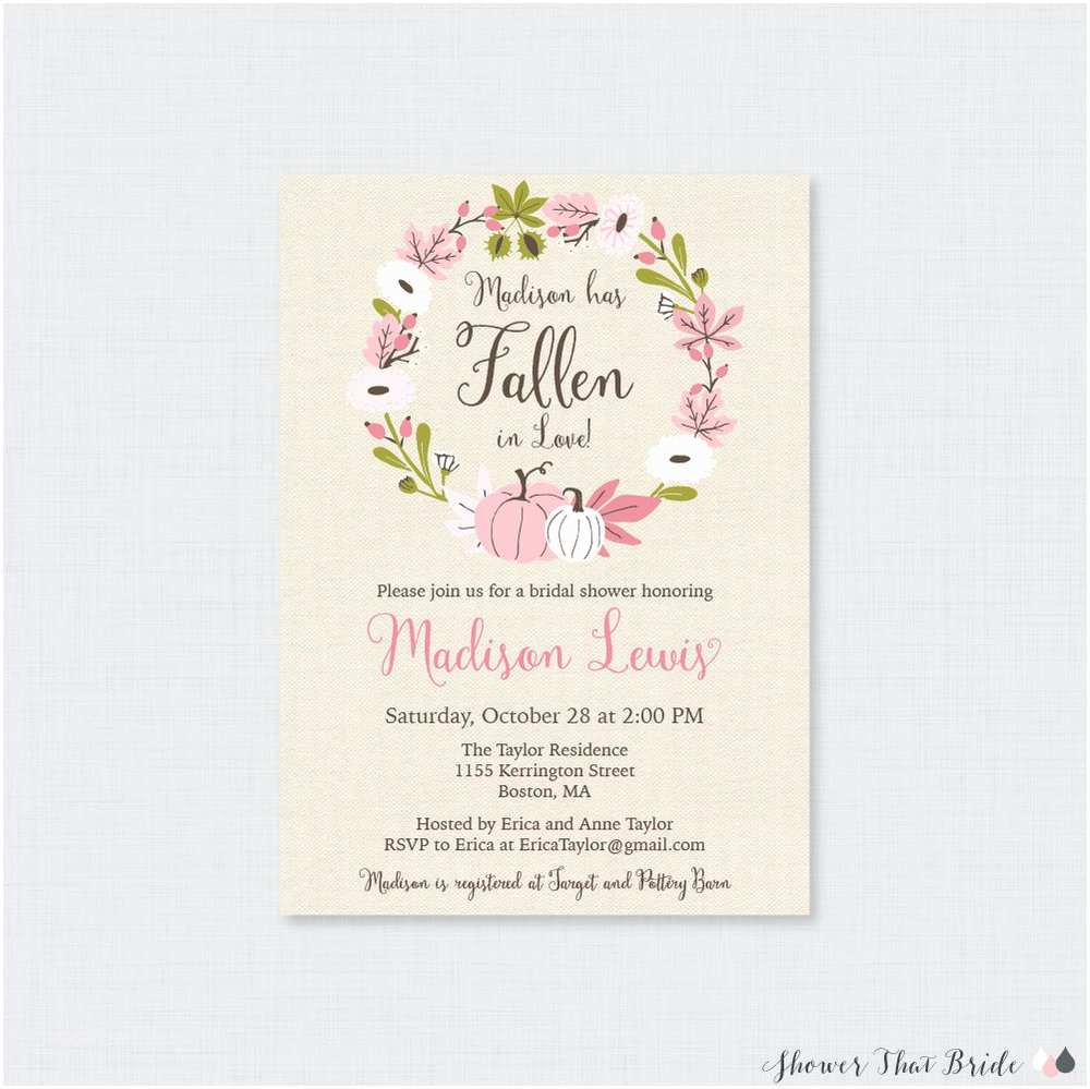 Fall themed Wedding Shower Invitations Decorating for Fall Parties with Pink and Gold Pumpkins