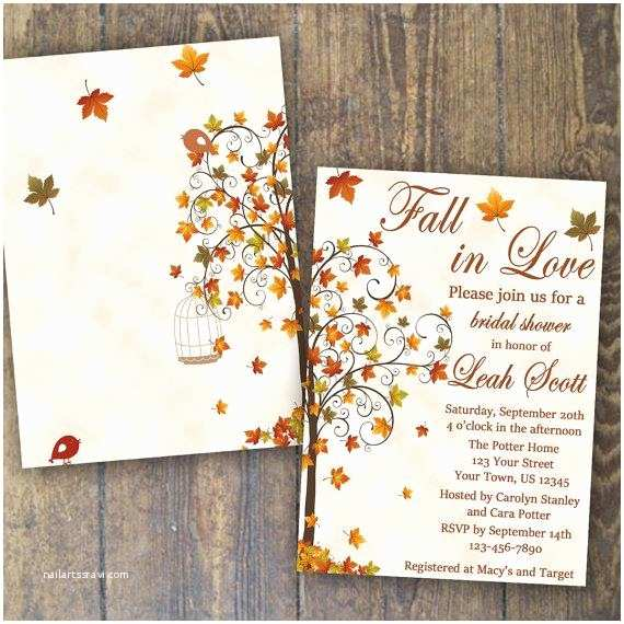 Fall themed Wedding Shower Invitations Fall Bridal Shower Invitation Fall In Love Invite Falling