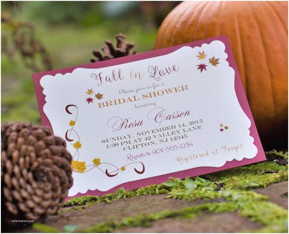Fall themed Wedding Shower Invitations Fall Leaves Bridal Shower Wedding Shower Invitations All