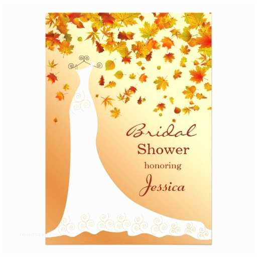 Fall themed Wedding Shower Invitations Falling Leaves Wedding Gown Bridal Shower Invite